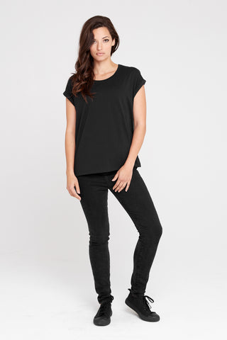 Dorsu Black Rolled Sleeve Top