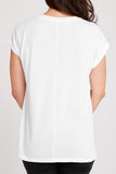 Dorsu White Rolled Sleeve Top