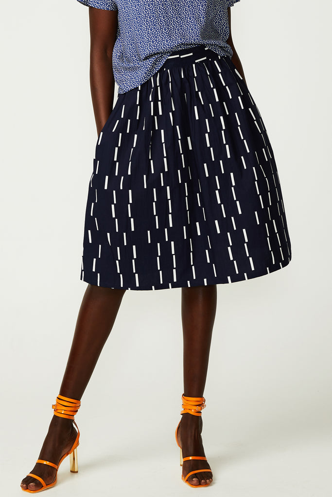 Navy Dash Gathered Skirt (was $199)