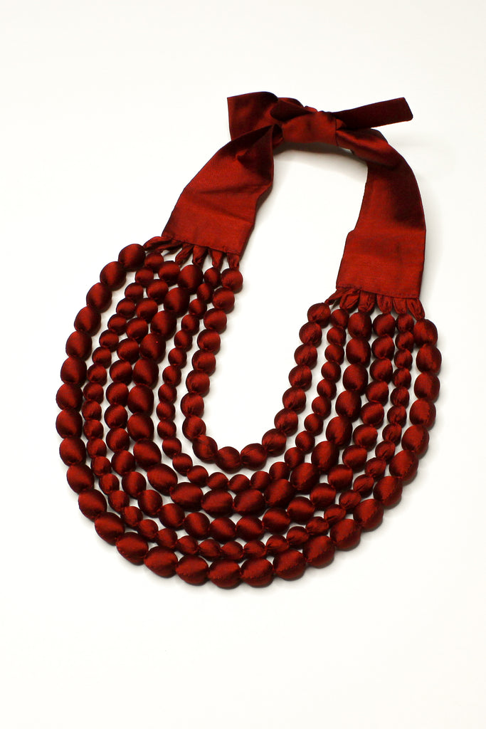 Khmer Red Silk Multi Strand Necklace