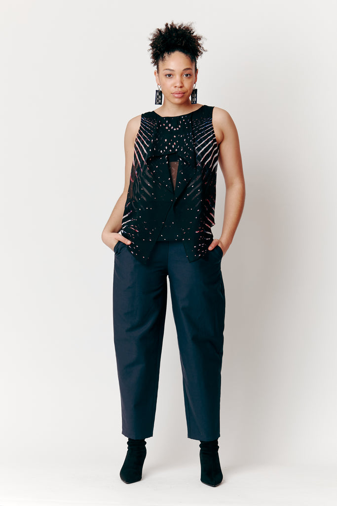 Maia Wears our Midnight Ink Tapered Pants with Bianca Spender Night Lights Top