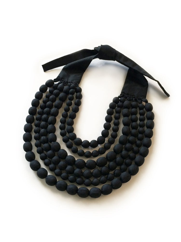 Black Silk Multi Strand Necklace
