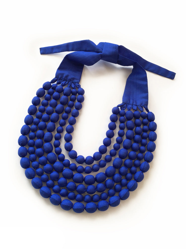 Cobalt Silk Multi Strand Necklace