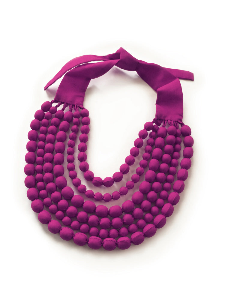 Fuchsia Silk Multi Strand Necklace