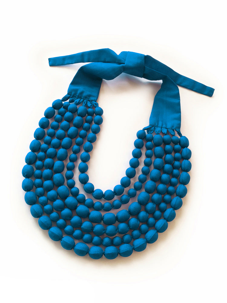 Azure Silk Multi Strand Necklace