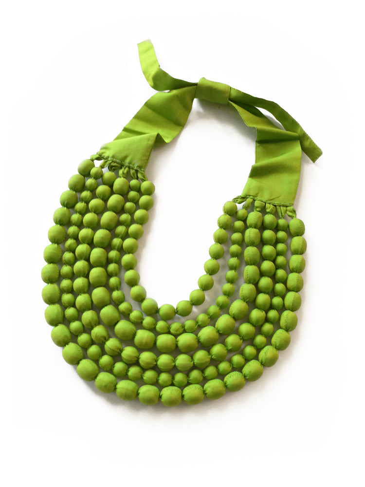 Lime Silk Multi Strand Necklace