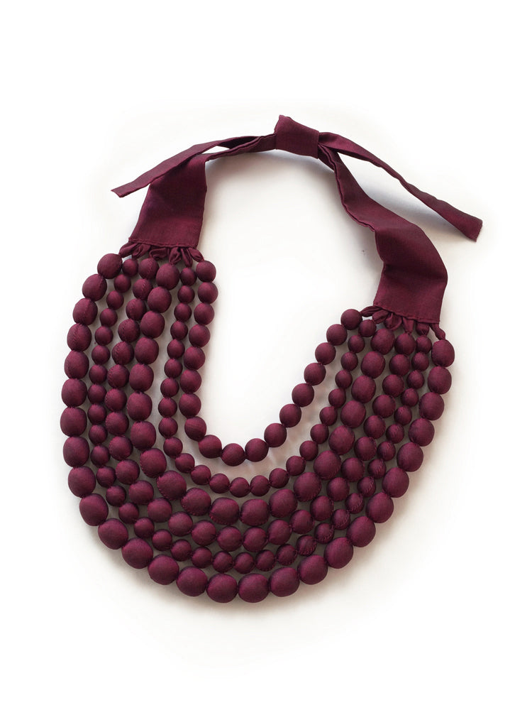 Maroon Silk Multi Strand Necklace