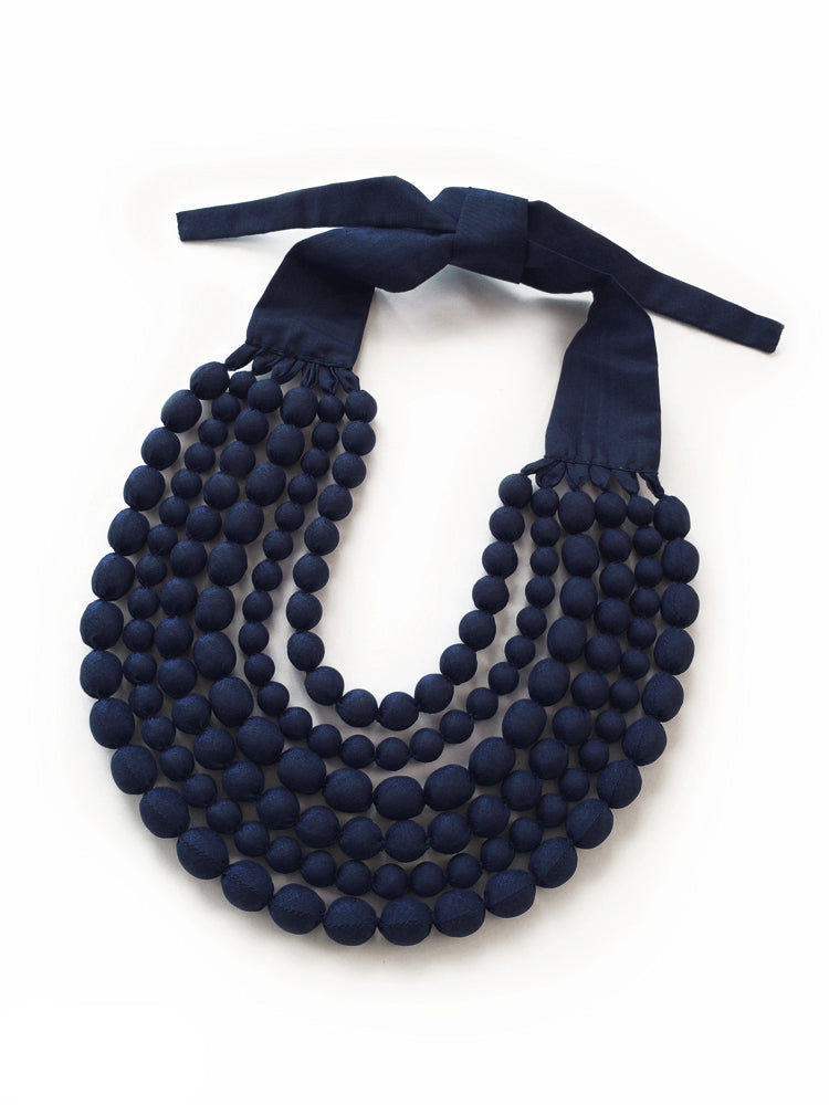 Navy Silk Multi Strand Necklace