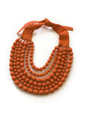 Orange Silk Multi Strand Necklace