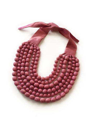 Dusty Pink Silk Multi Strand Necklace