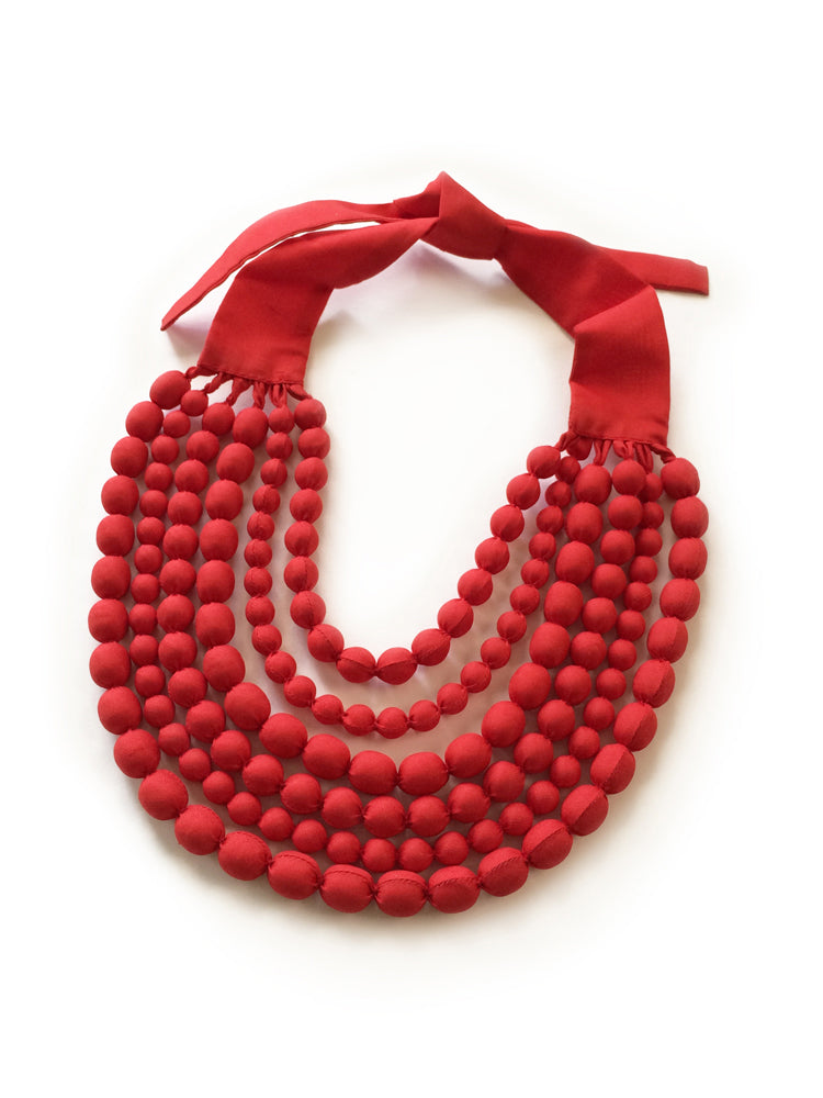 Red Silk Multi Strand Necklace