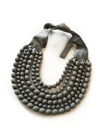 Silver Silk Multi Strand Necklace