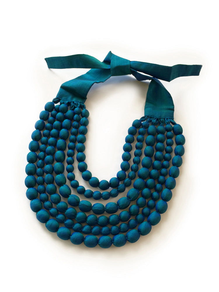 Teal Silk Multi Strand Necklace