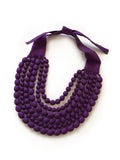 Violet Silk Multi Strand Necklace
