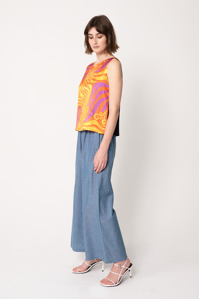 the social outfit orange purple print gawaa shell top with chambray trousers