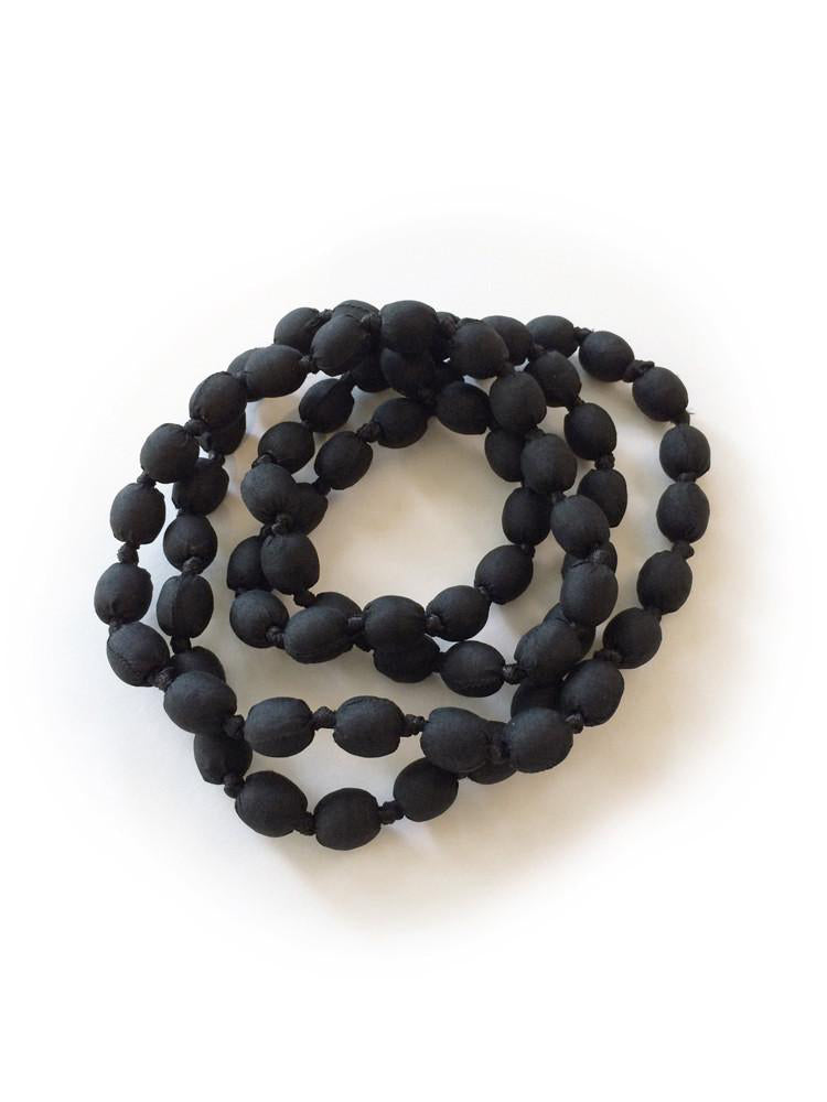 Black Silk Single Strand Necklace
