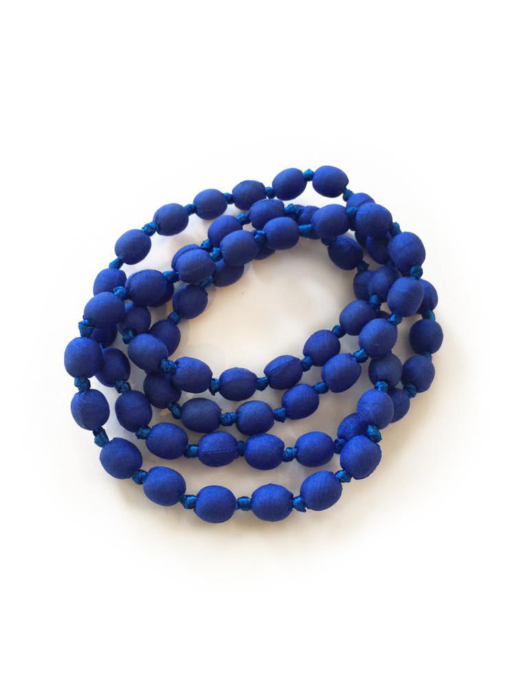 Cobalt Silk Single Strand Necklace
