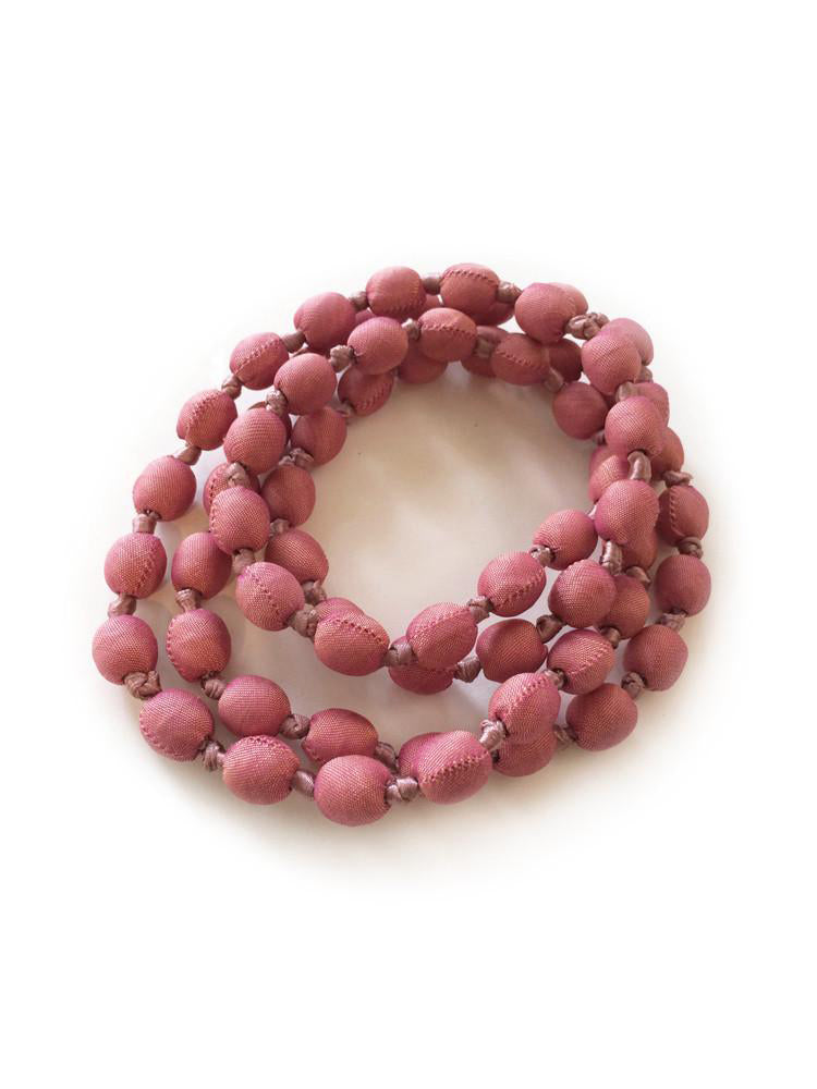 Dusty Pink Silk Single Strand Necklace