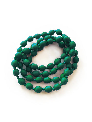 Forest Green Silk Single Strand Necklace
