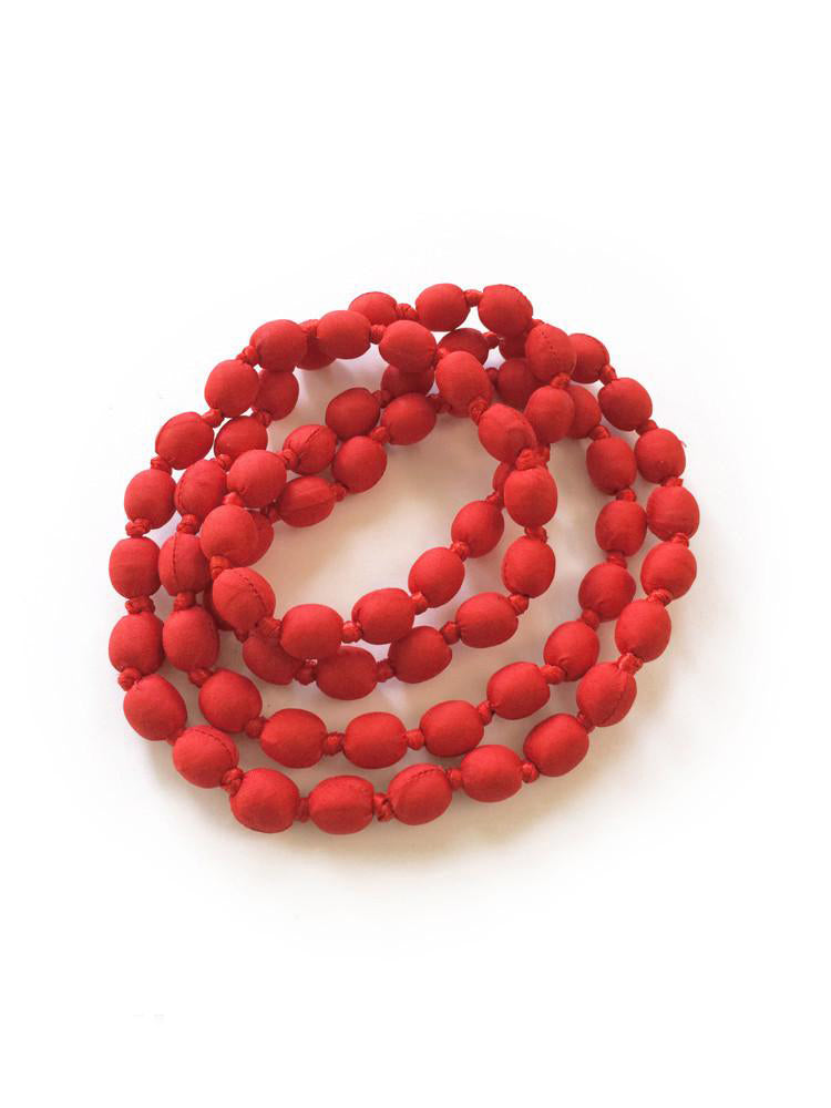 Red Silk Single Strand Necklace