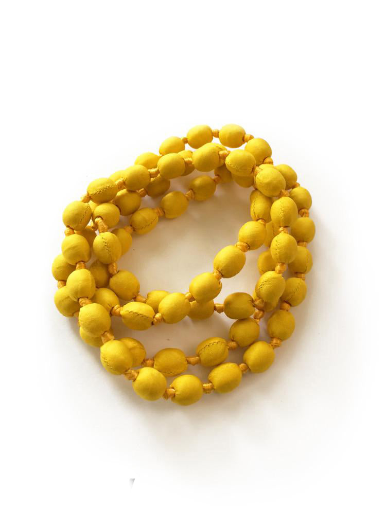 Yellow Silk Single Strand Necklace