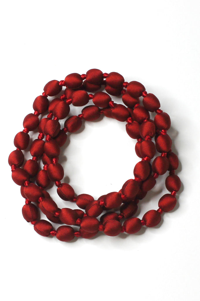 tabitha silk single strand necklace in khmer red