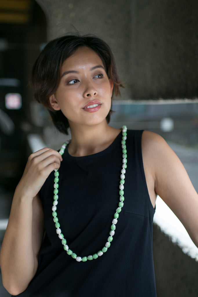 Lime Silk Single Strand Necklace