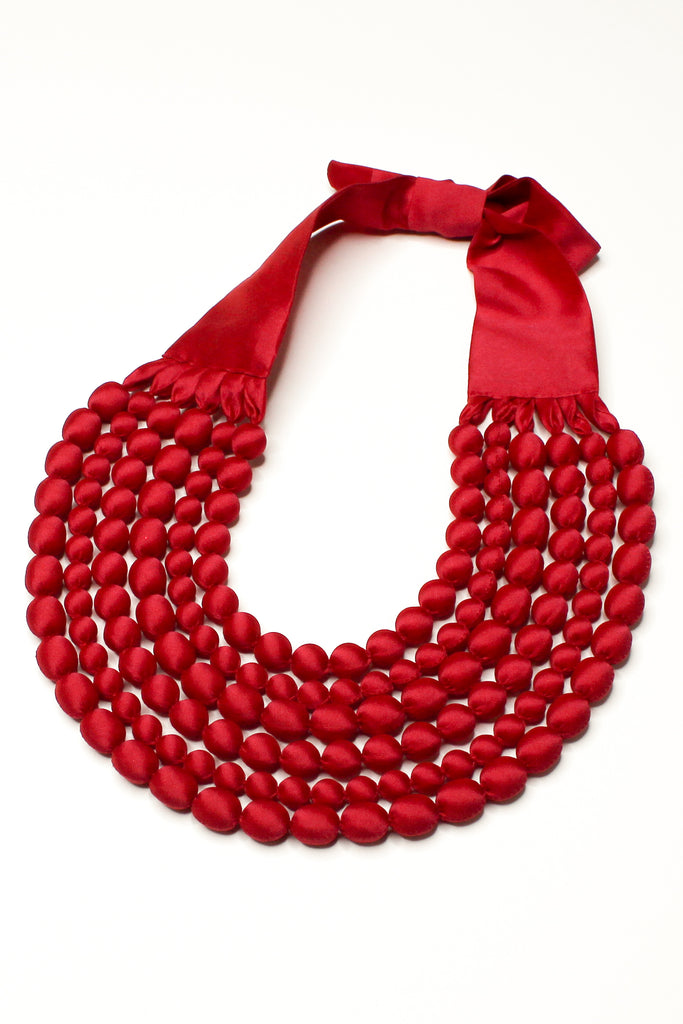 Watermelon Silk Multi Strand Necklace