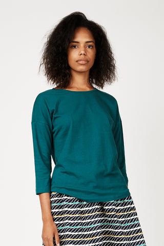 Dorsu x The Social Outfit Teal Cropped Sleeve Top