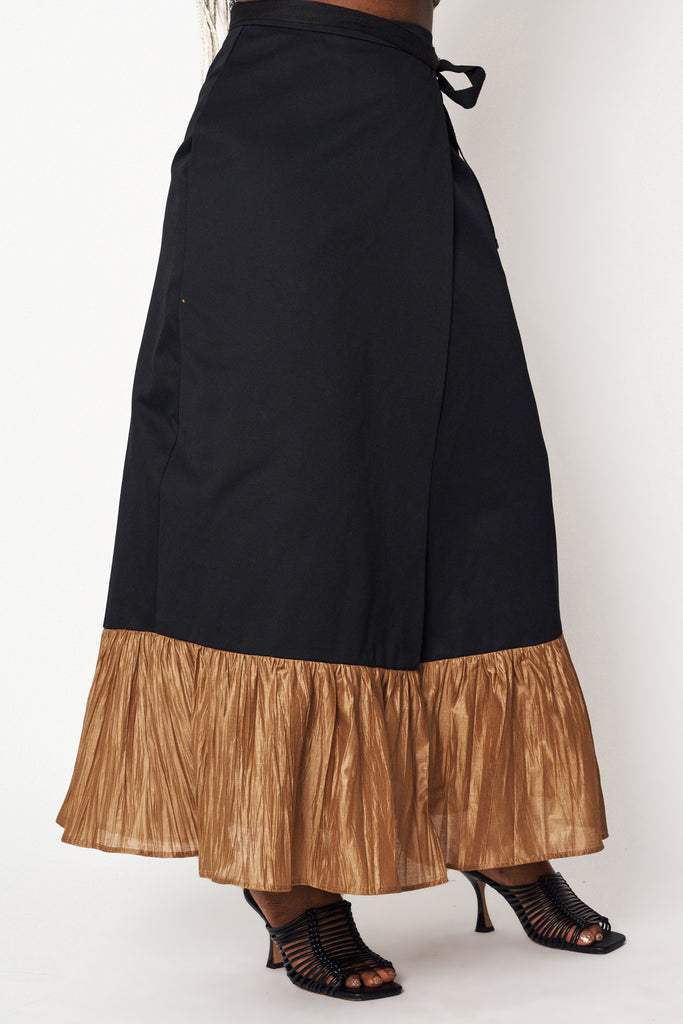 Black Ruffle Wrap Skirt