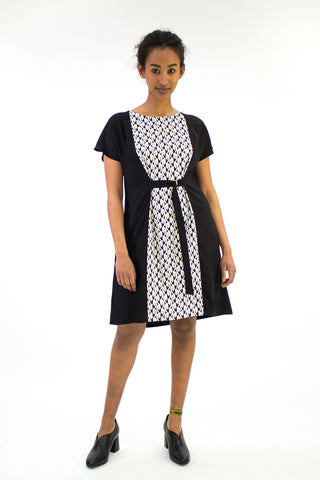 Abstract Swan Spliced Dress