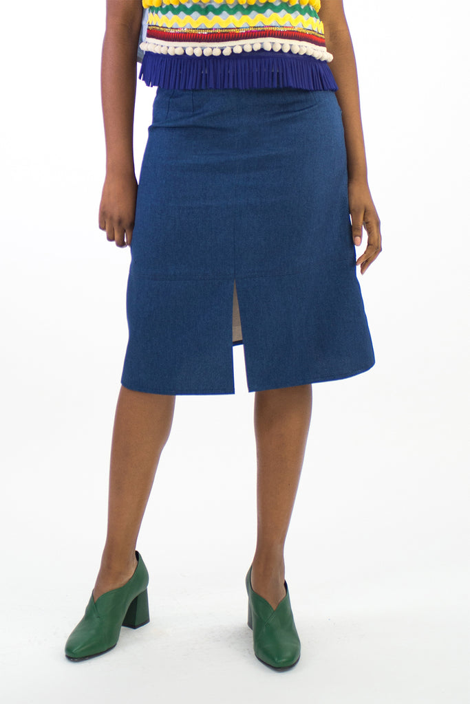 Denim Panelled Midi Skirt - Last one! (XS)