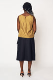 Navy Canary Contrast Shell Top