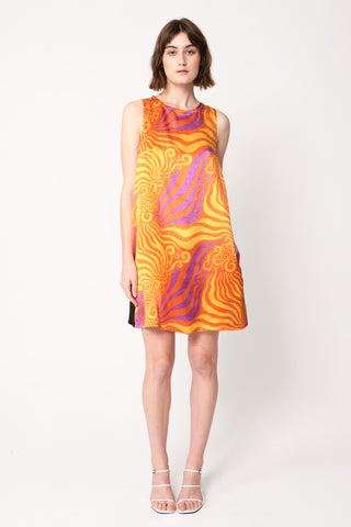 Mia wearing orange print Gawaa a-line dress