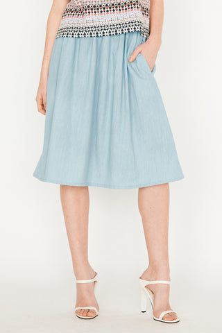 Sky Chambray Elastic Skirt