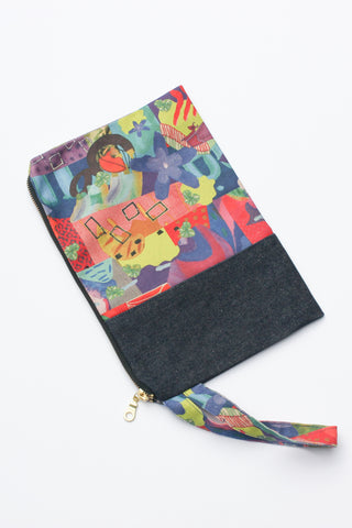 multi-coloured organic cotton canvas clutch spliced with remnant denim and strap