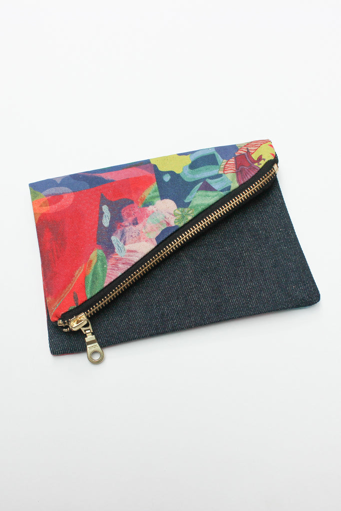 multi-coloured organic cotton canvas purse spliced with remnant denim and strap