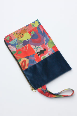 multi-coloured organic cotton canvas clutch spliced with remnant velvet and strap