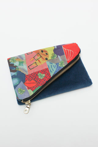 multi-coloured organic cotton canvas purse spliced with remnant velvet and strap