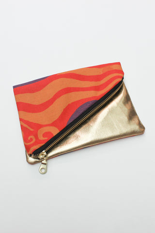 orange and purple printed organic canvas purse spliced with remnant gold fabric