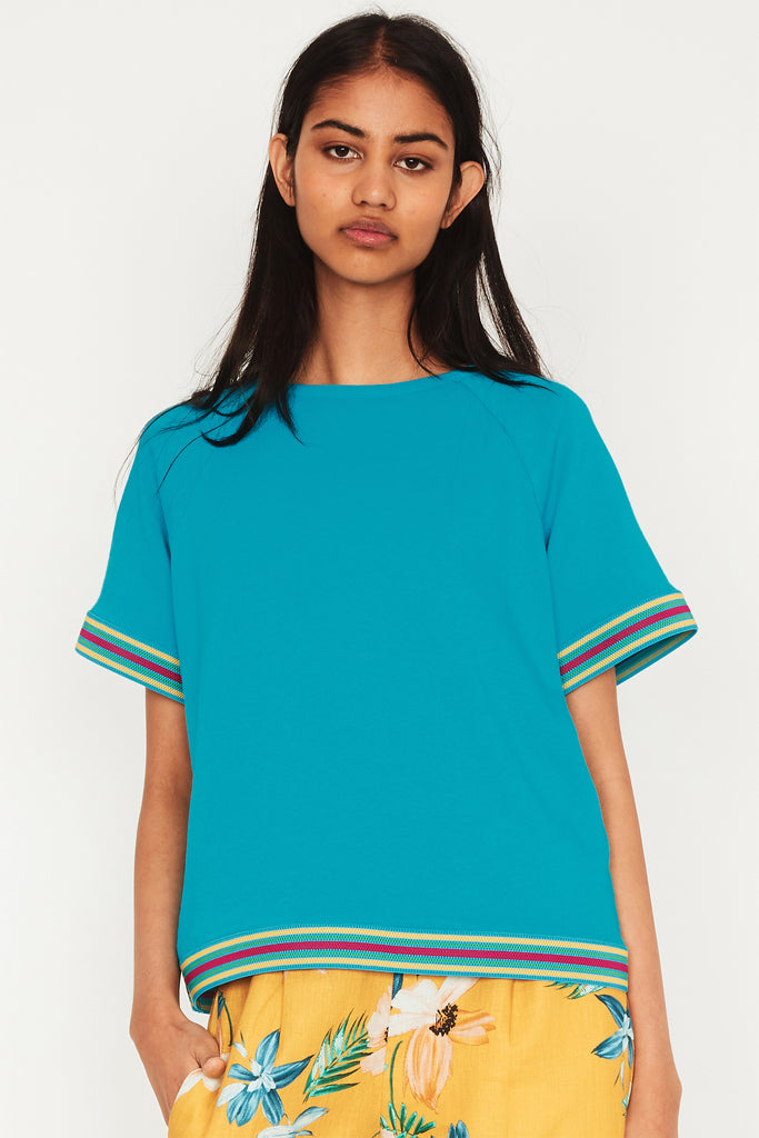 Turquoise Terry Sports Raglan