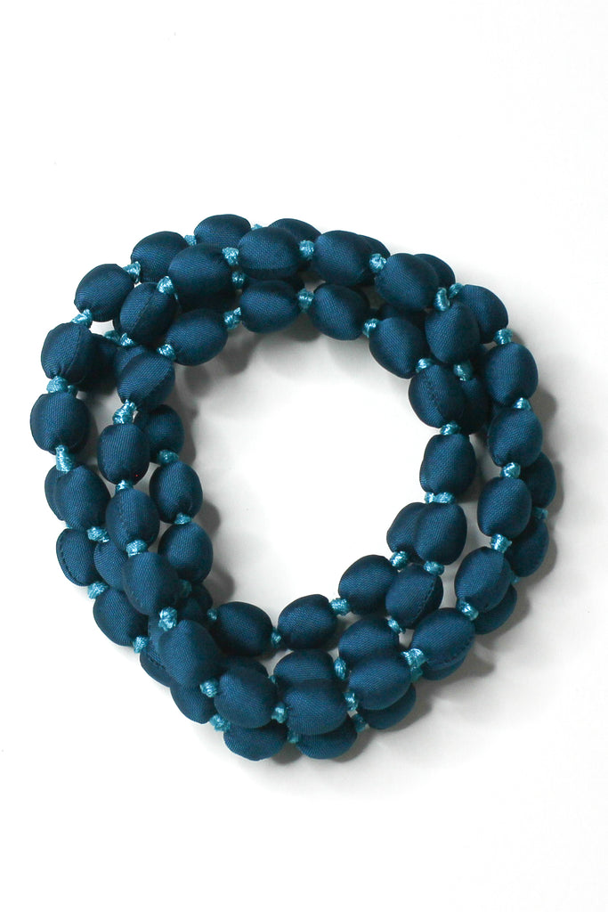 Teal Silk Single Strand Necklace