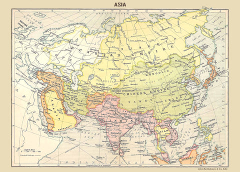 1910 map of ASIA - Walker's Ideal Atlas-Map-Elysiumprints