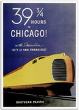 39 HOURS TO CHICAGO! - 1936 - Vintage Railway Poster USA-Poster-Elysiumprints