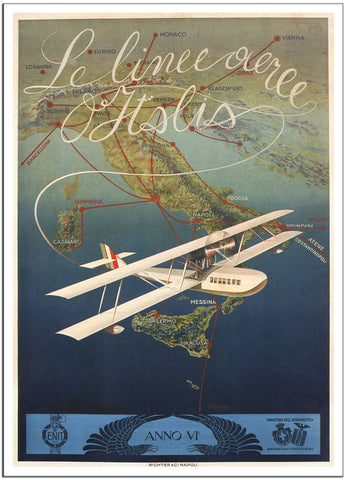 AIRLINES OF ITALY - Vintage Travel Airline Poster by Mario Borgoni 1927-Poster-Elysiumprints