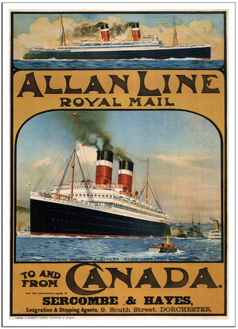 ALLAN LINE ROYAL MAIL - 1913 - Canada - Vintage Travel Poster-Poster-Elysiumprints