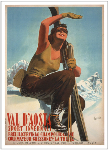 AOSTA VALLEY, WINTER SPORTS - 1947 - Italy - Vintage Travel Poster-Poster-Elysiumprints