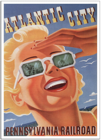 ATLANTIC CITY PENNSYLVANIA RAILROAD - 1940 - Vintage Railway Poster USA-Poster-Elysiumprints