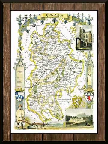 1830 Map of BEDFORDSHIRE - County Map - Thomas Moule - Reproduction (42 x 30 cm)-Elysiumprints