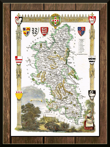 1830 Map of BUCKINGHAMSHIRE - County Map - T. Moule - Reproduction (42 x 30 cm)-Elysiumprints